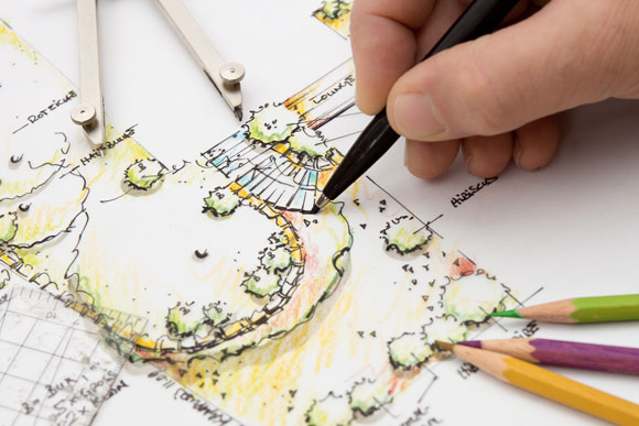 hand drawn garden design plan