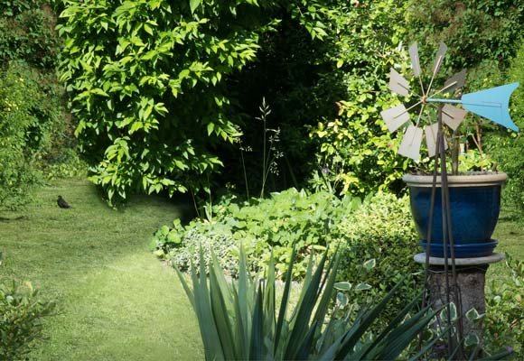 lush green garden with trees and planting beds